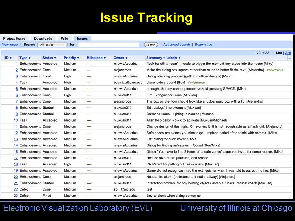 University of Illinois at Chicago Electronic Visualization Laboratory (EVL) Issue Tracking