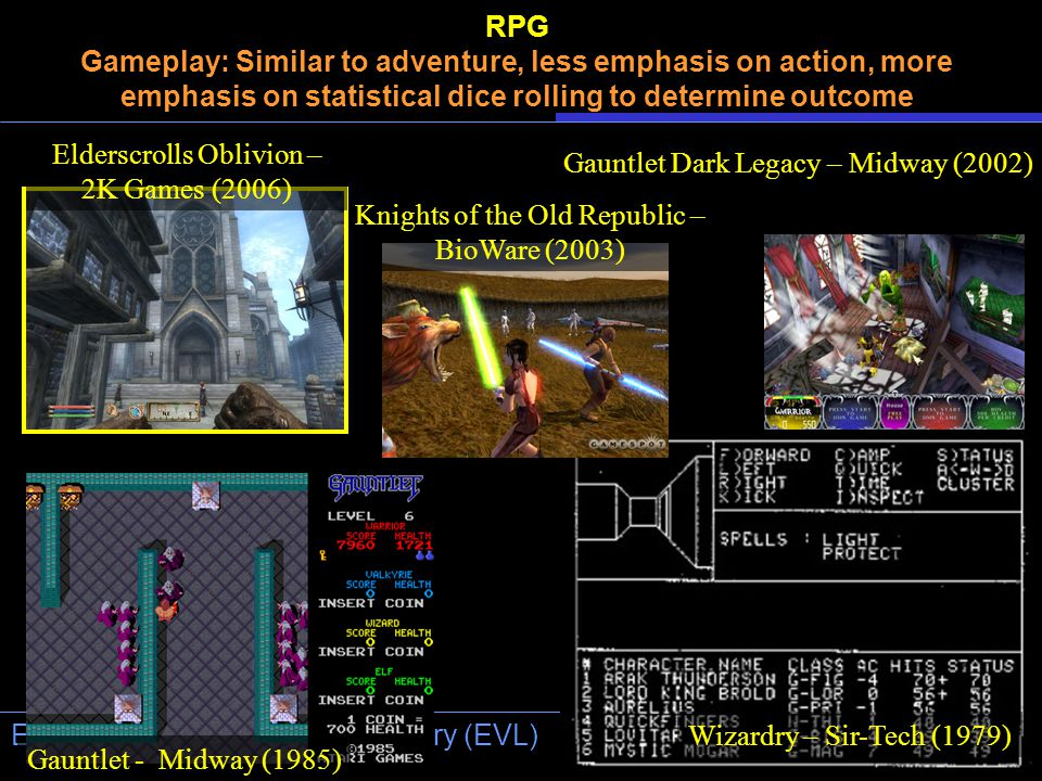 University of Illinois at Chicago Electronic Visualization Laboratory (EVL) RPG Gameplay: Similar to adventure, less emphasis on action, more emphasis on statistical dice rolling to determine outcome Gauntlet Dark Legacy – Midway (2002) Knights of the Old Republic – BioWare (2003) Wizardry – Sir-Tech (1979) Gauntlet - Midway (1985) Elderscrolls Oblivion – 2K Games (2006)