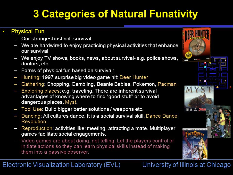 University of Illinois at Chicago Electronic Visualization Laboratory (EVL) 3 Categories of Natural Funativity Physical Fun –Our strongest instinct: survival –We are hardwired to enjoy practicing physical activities that enhance our survival –We enjoy TV shows, books, news, about survival- e.g.