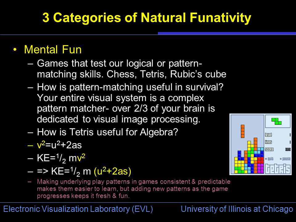 University of Illinois at Chicago Electronic Visualization Laboratory (EVL) 3 Categories of Natural Funativity Mental Fun –Games that test our logical or pattern- matching skills.