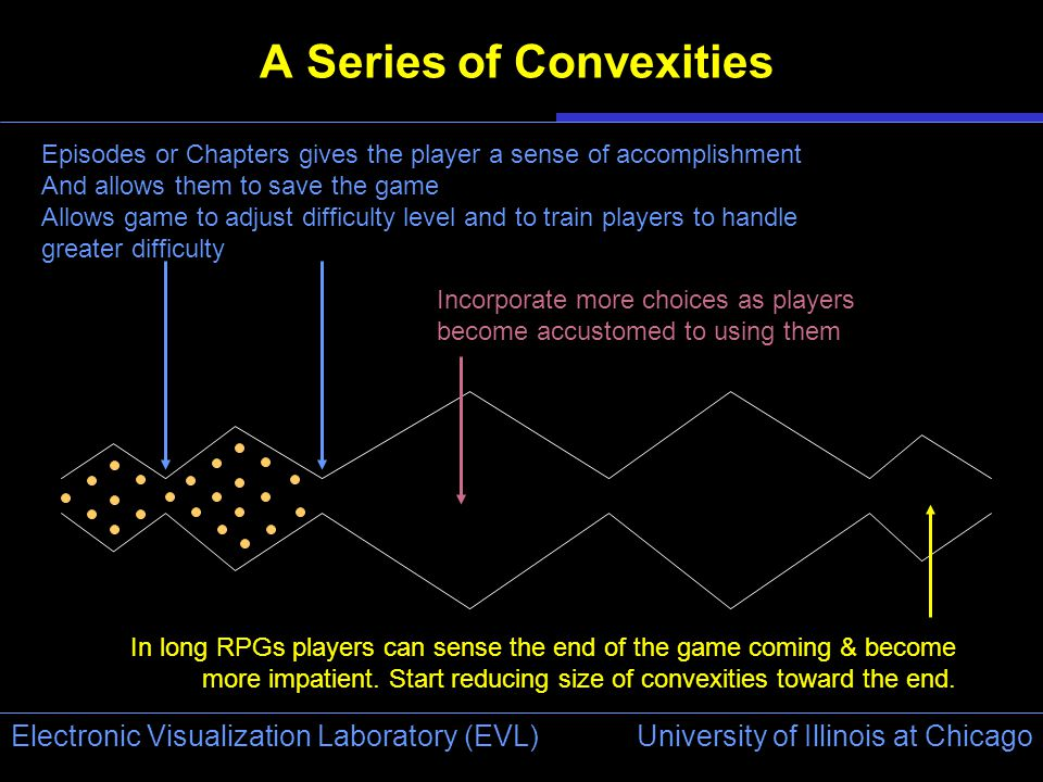 University of Illinois at Chicago Electronic Visualization Laboratory (EVL) A Series of Convexities Episodes or Chapters gives the player a sense of accomplishment And allows them to save the game Allows game to adjust difficulty level and to train players to handle greater difficulty Incorporate more choices as players become accustomed to using them In long RPGs players can sense the end of the game coming & become more impatient.