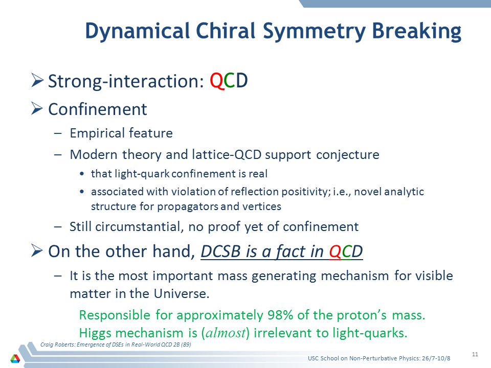 Dynamical Chiral Symmetry Breaking SStrong-interaction: Q CD CConfinement –E–Empirical feature –M–Modern theory and lattice-QCD support conjecture that light-quark confinement is real associated with violation of reflection positivity; i.e., novel analytic structure for propagators and vertices –S–Still circumstantial, no proof yet of confinement OOn the other hand, DCSB is a fact in QCD –I–It is the most important mass generating mechanism for visible matter in the Universe.