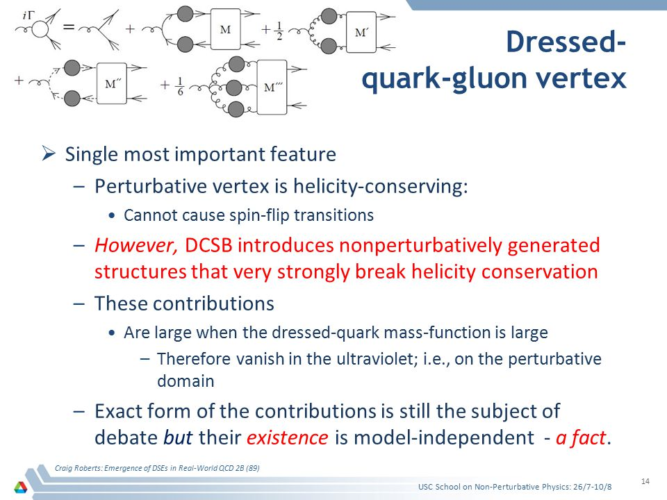 Dressed- quark-gluon vertex  Single most important feature –Perturbative vertex is helicity-conserving: Cannot cause spin-flip transitions –However, DCSB introduces nonperturbatively generated structures that very strongly break helicity conservation –These contributions Are large when the dressed-quark mass-function is large –Therefore vanish in the ultraviolet; i.e., on the perturbative domain –Exact form of the contributions is still the subject of debate but their existence is model-independent - a fact.
