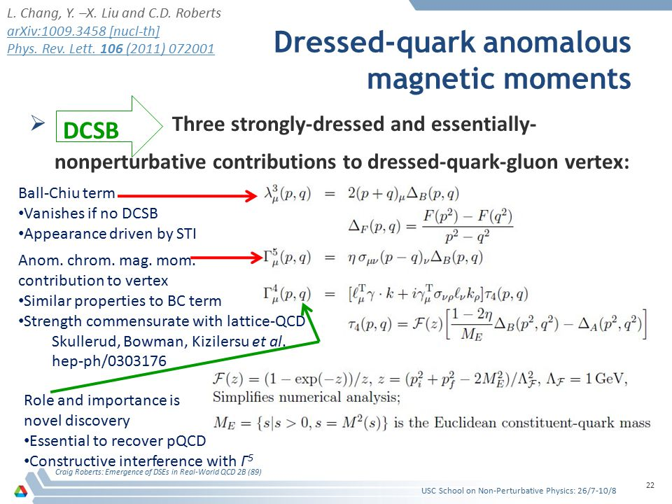 Dressed-quark anomalous magnetic moments  Three strongly-dressed and essentially- nonperturbative contributions to dressed-quark-gluon vertex: Craig Roberts: Emergence of DSEs in Real-World QCD 2B (89) 22 DCSB Ball-Chiu term Vanishes if no DCSB Appearance driven by STI Anom.