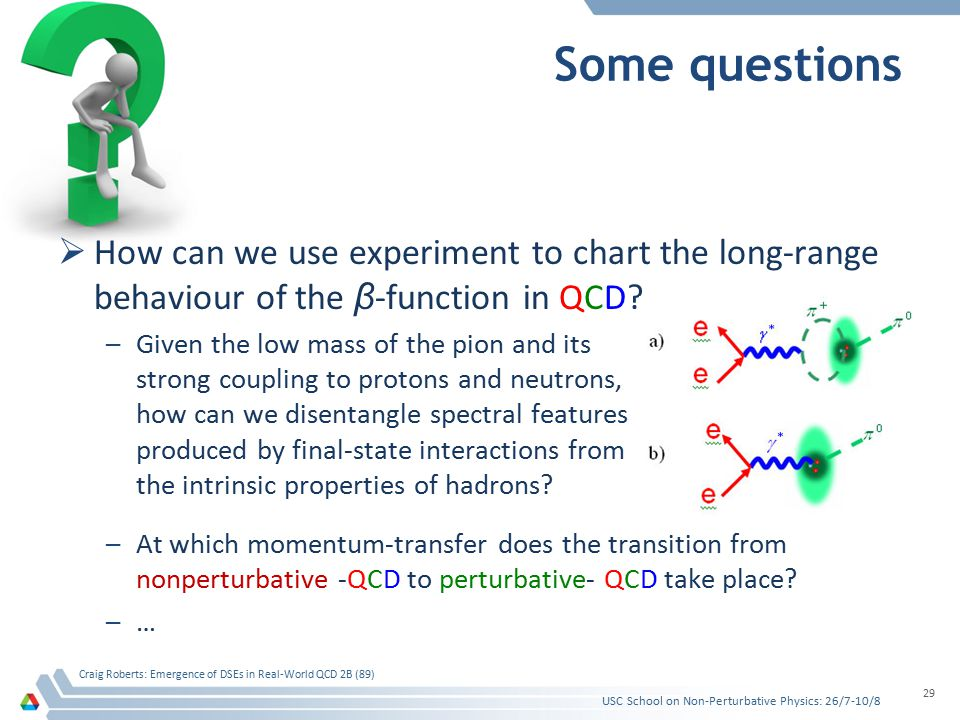 Some questions  How can we use experiment to chart the long-range behaviour of the β -function in QCD? –Given the low mass of the pion and its strong
