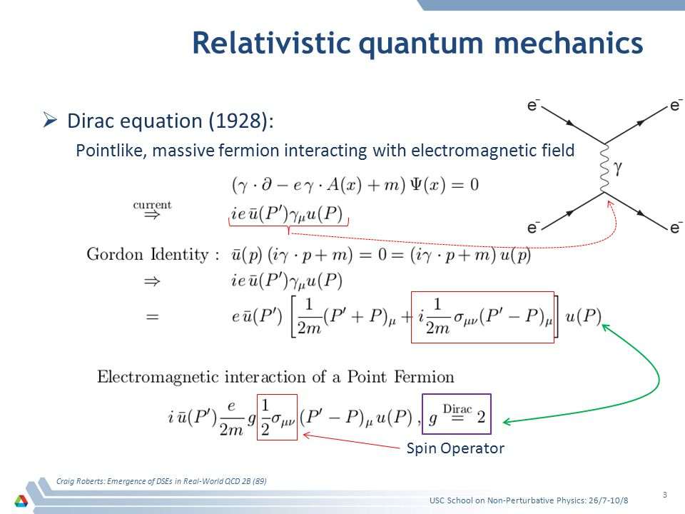 Relativistic quantum mechanics  Dirac equation (1928): Pointlike, massive fermion interacting with electromagnetic field Craig Roberts: Emergence of