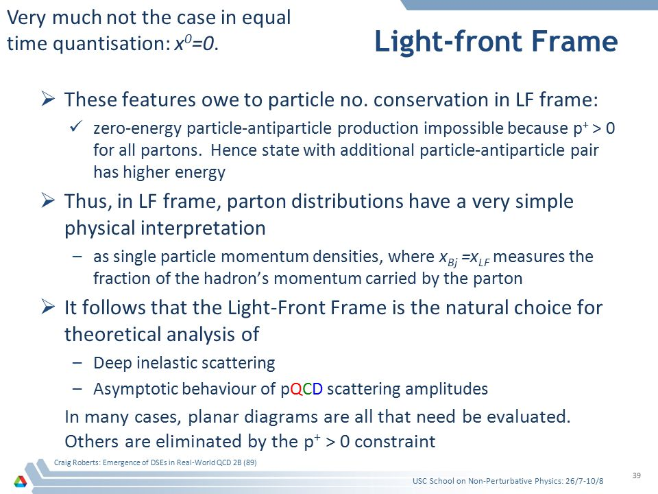 Light-front Frame  These features owe to particle no.