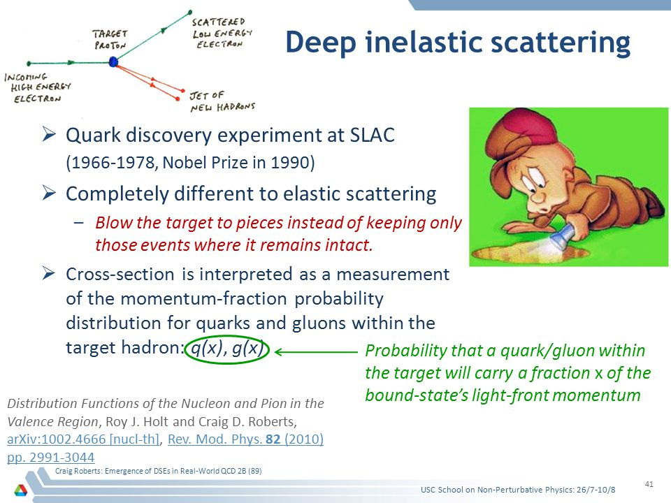 Deep inelastic scattering  Quark discovery experiment at SLAC (1966-1978, Nobel Prize in 1990)  Completely different to elastic scattering –Blow the target to pieces instead of keeping only those events where it remains intact.
