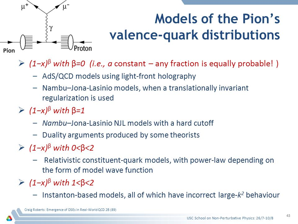 Models of the Pion's valence-quark distributions  (1−x) β with β=0 (i.e., a constant – any fraction is equally probable.