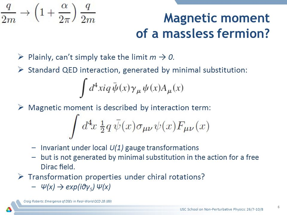  Standard QED interaction, generated by minimal substitution: –Unchanged under chiral rotation –Follows that QED without a fermion mass term is helicity conserving  Magnetic moment interaction is described by interaction term: –NOT invariant –picks up a phase-factor exp(2iθγ 5 )  Magnetic moment interaction is forbidden in a theory with manifest chiral symmetry Magnetic moment of a massless fermion.