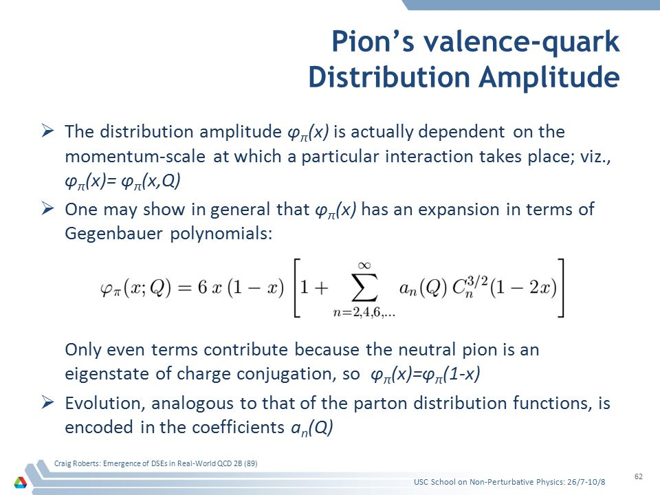 Pion's valence-quark Distribution Amplitude  The distribution amplitude φ π (x) is actually dependent on the momentum-scale at which a particular int
