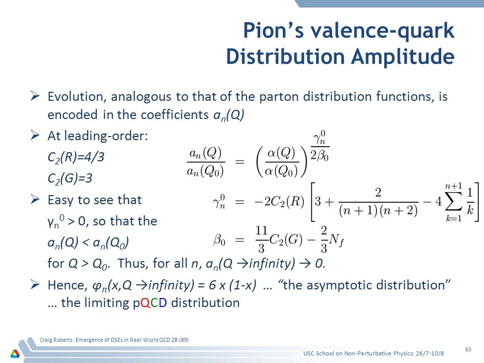 Pion's valence-quark Distribution Amplitude  Evolution, analogous to that of the parton distribution functions, is encoded in the coefficients a n (Q