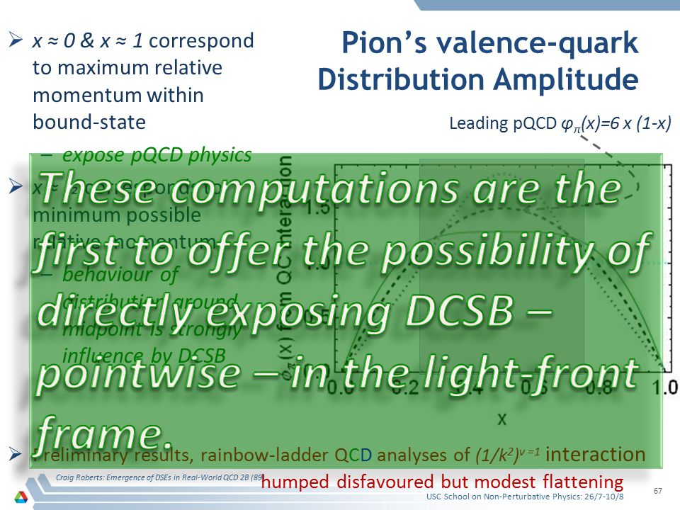 Pion's valence-quark Distribution Amplitude  x ≈ 0 & x ≈ 1 correspond to maximum relative momentum within bound-state –expose pQCD physics  x ≈ ½ co