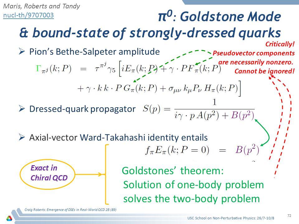 π 0 : Goldstone Mode & bound-state of strongly-dressed quarks  Pion's Bethe-Salpeter amplitude  Dressed-quark propagator  Axial-vector Ward-Takahashi identity entails Craig Roberts: Emergence of DSEs in Real-World QCD 2B (89) 72 Maris, Roberts and Tandy nucl-th/9707003 Exact in Chiral QCD Critically.
