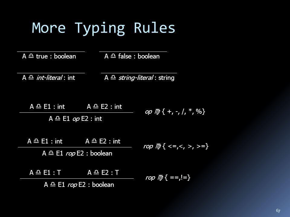 67 More Typing Rules A  true : boolean A  E1 : intA  E2 : int A  E1 op E2 : int A  false : boolean A  int-literal : int A  string-literal : string op  { +, -, /, *, %} A  E1 : intA  E2 : int A  E1 rop E2 : boolean rop  {, >=} A  E1 : TA  E2 : T A  E1 rop E2 : boolean rop  { ==,!=}