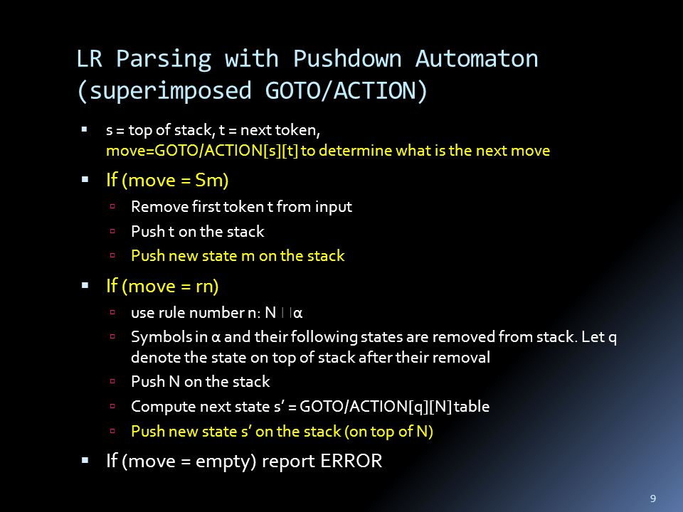 Summary: LR Grammars  ACTION table determines whether to shift or reduce  On a shift, new state found using the GOTO table  LR-parser with 1 token look-ahead, the ACTION and GOTO tables can be superimposed 30