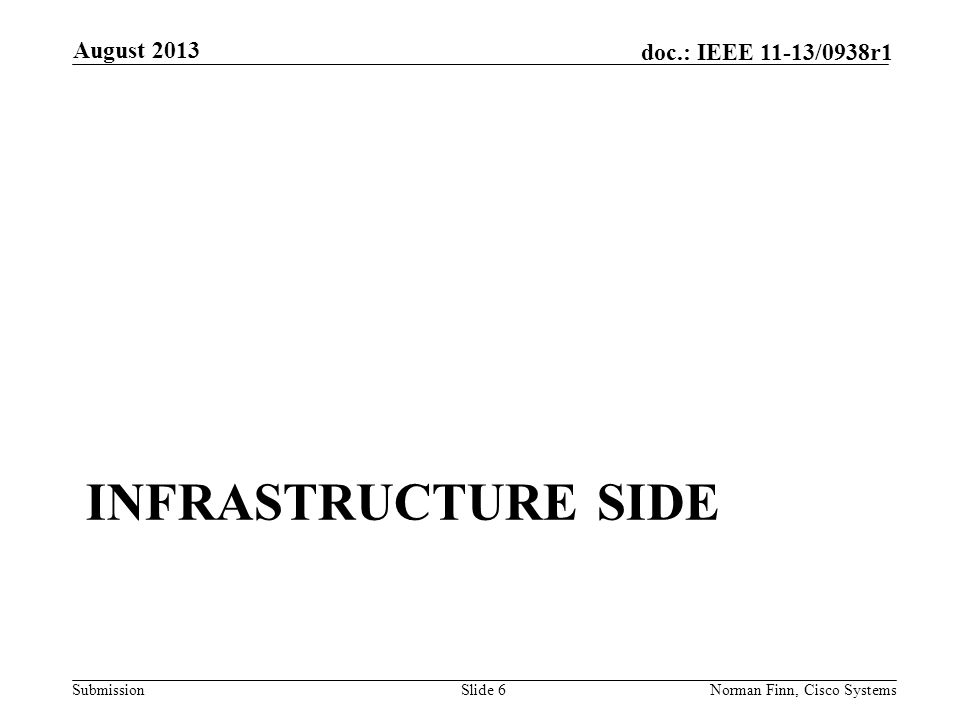 Submission doc.: IEEE 11-13/0938r1 INFRASTRUCTURE SIDE August 2013 Norman Finn, Cisco SystemsSlide 6