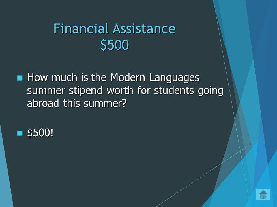 Financial Assistance $400 Apply for a private loan Apply for a private loan You may ask your legal guardian to apply for a Parent Plus Loan You may ask your legal guardian to apply for a Parent Plus Loan What is one type of loan that can be used if a student has unmet study abroad program attendance costs.