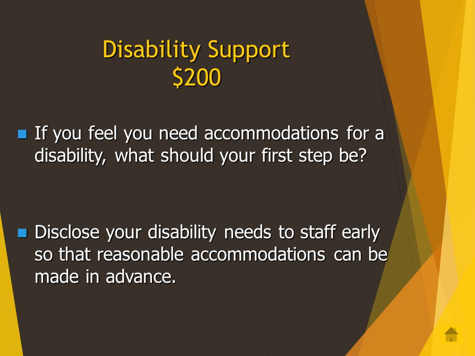 Disability Support $100 Can students going abroad to study request accommodations for a disability? Can students going abroad to study request accommo