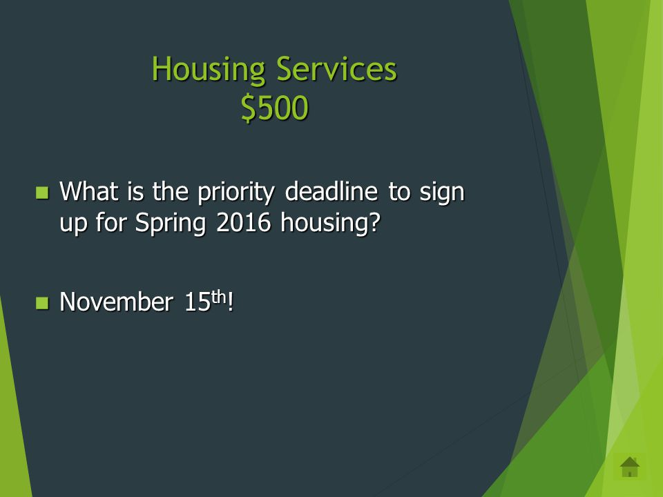 Housing Services $400 Housing Website: http://housing.cua.edu Housing Website: http://housing.cua.eduhttp://housing.cua.edu Phone: 202-319-5615 Phone: 202-319-5615 Email: cua-housing@cua.edu Email: cua-housing@cua.educua-housing@cua.edu Skype Skype Facebook Facebook Name 3 ways to get answers to your housing questions: Name 3 ways to get answers to your housing questions: