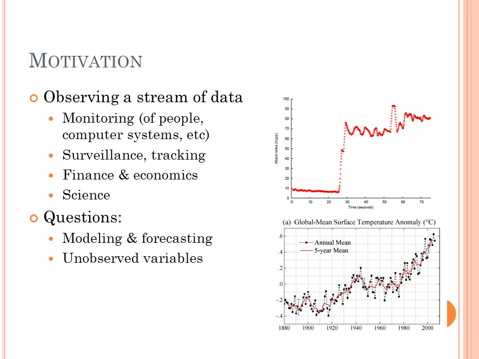 M OTIVATION Observing a stream of data Monitoring (of people, computer systems, etc) Surveillance, tracking Finance & economics Science Questions: Modeling & forecasting Unobserved variables