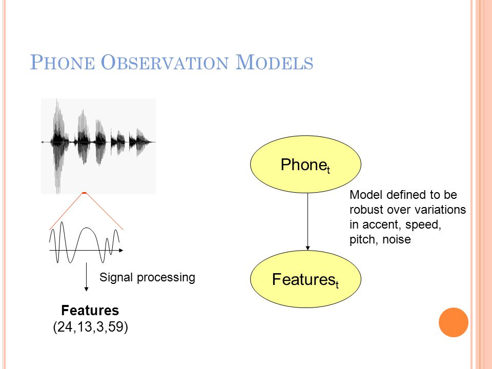P HONE O BSERVATION M ODELS Phone t Signal processing Features (24,13,3,59) Features t Model defined to be robust over variations in accent, speed, pitch, noise