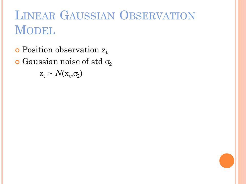L INEAR G AUSSIAN O BSERVATION M ODEL Position observation z t Gaussian noise of std  2 z t ~ N (x t,   )