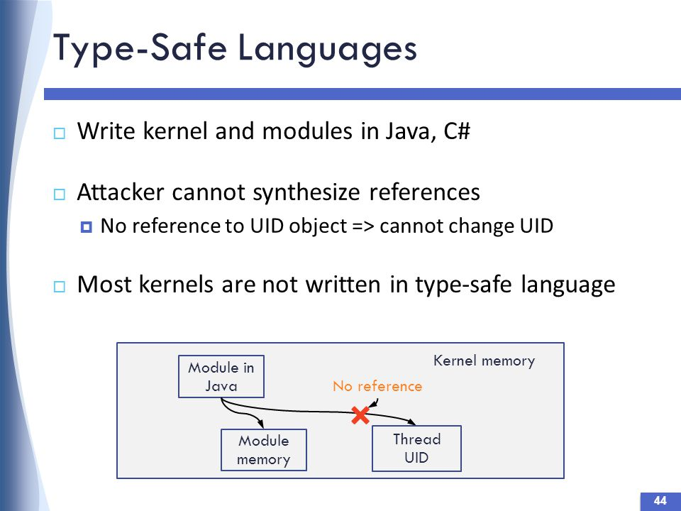 Type-Safe Languages  Write kernel and modules in Java, C#  Attacker cannot synthesize references  No reference to UID object => cannot change UID  Most kernels are not written in type-safe language Module in Java Kernel memory Thread UID No reference Module memory 44