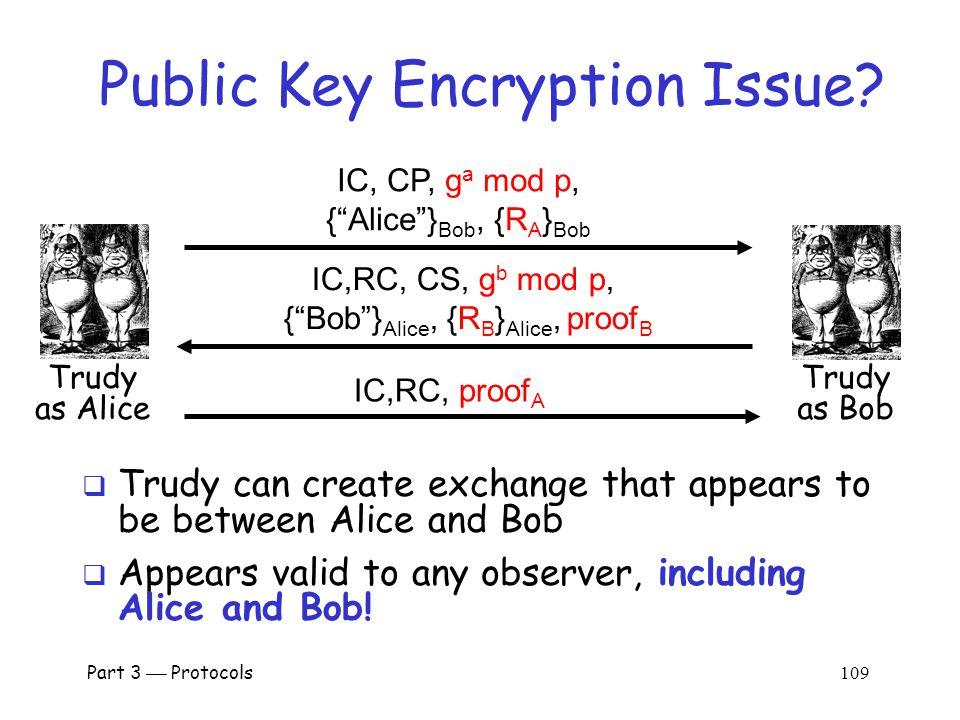 Part 3  Protocols 108 Public Key Encryption Issue.