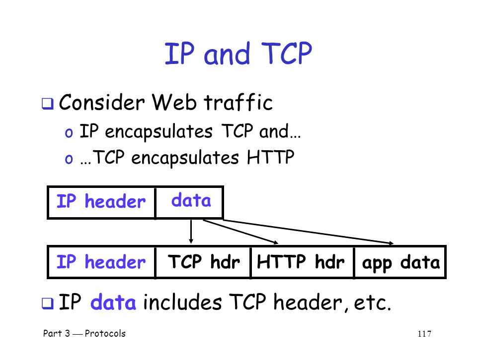 Part 3  Protocols 116 IP Review  Where IP header is IP header data  IP datagram is of the form