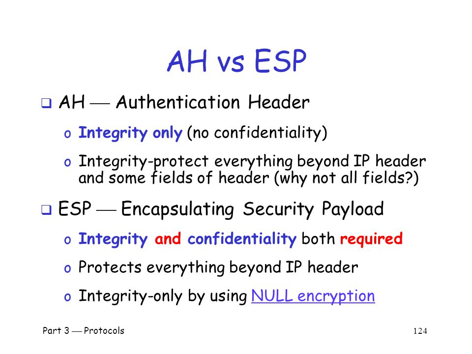Part 3  Protocols 123 IPSec Security  What kind of protection.
