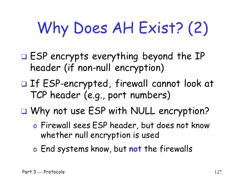 Part 3  Protocols 126 Why Does AH Exist.
