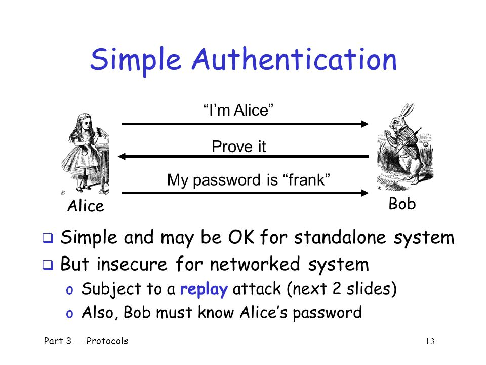 Part 3  Protocols 12 Authentication  Authentication on a stand-alone computer is relatively simple o Hash password with salt o Secure path, attacks on authentication software, keystroke logging, etc., can be issues  Authentication over a network is challenging o Attacker can passively observe messages o Attacker can replay messages o Active attacks possible (insert, delete, change)