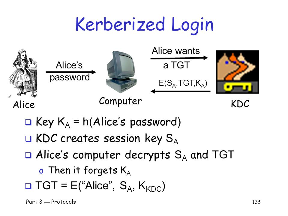 Part 3  Protocols 134 Kerberized Login  Alice enters her password  Then Alice's computer does following: o Derives K A from Alice's password o Uses