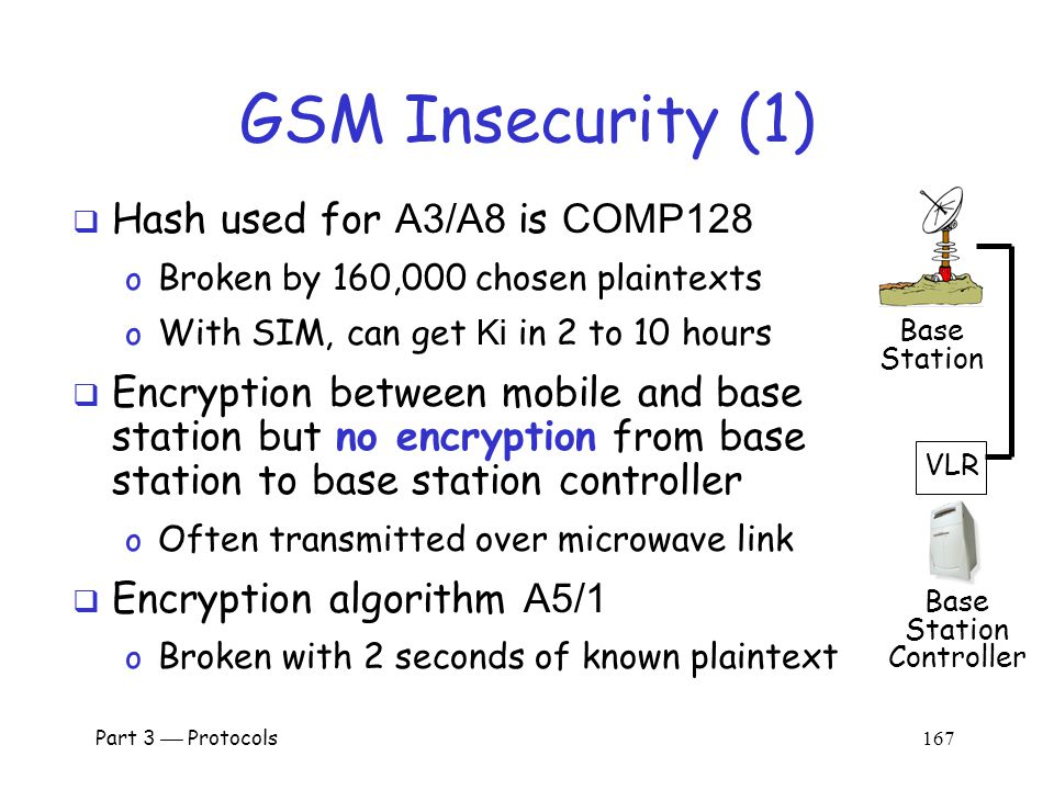 Part 3  Protocols 166 GSM Security  SRES and Kc must be uncorrelated o Even though both are derived from RAND and Ki  Must not be possible to deduce Ki from known RAND/SRES pairs (known plaintext attack)  Must not be possible to deduce Ki from chosen RAND/SRES pairs (chosen plaintext attack) o With possession of SIM, attacker can choose RAND 's Mobile Base Station 4.