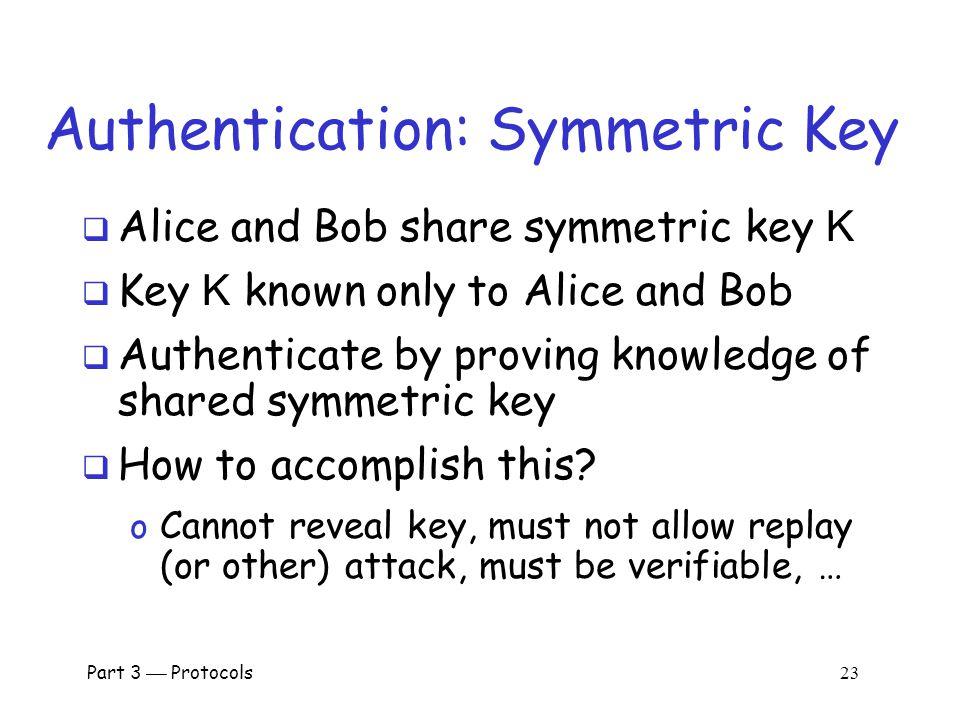 Part 3  Protocols 22 Symmetric Key Notation  Encrypt plaintext P with key K C = E(P,K)  Decrypt ciphertext C with key K P = D(C,K)  Here, we are concerned with attacks on protocols, not attacks on crypto o So, we assume crypto algorithms are secure
