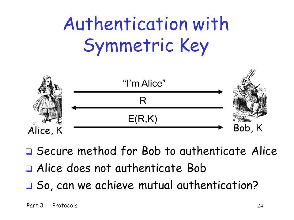 Part 3  Protocols 23 Authentication: Symmetric Key  Alice and Bob share symmetric key K  Key K known only to Alice and Bob  Authenticate by proving knowledge of shared symmetric key  How to accomplish this.