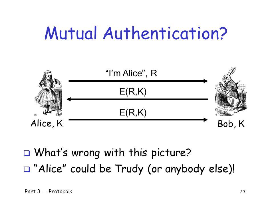 Part 3  Protocols 24 Authentication with Symmetric Key Alice, K Bob, K I'm Alice E(R,K)  Secure method for Bob to authenticate Alice  Alice does not authenticate Bob  So, can we achieve mutual authentication.