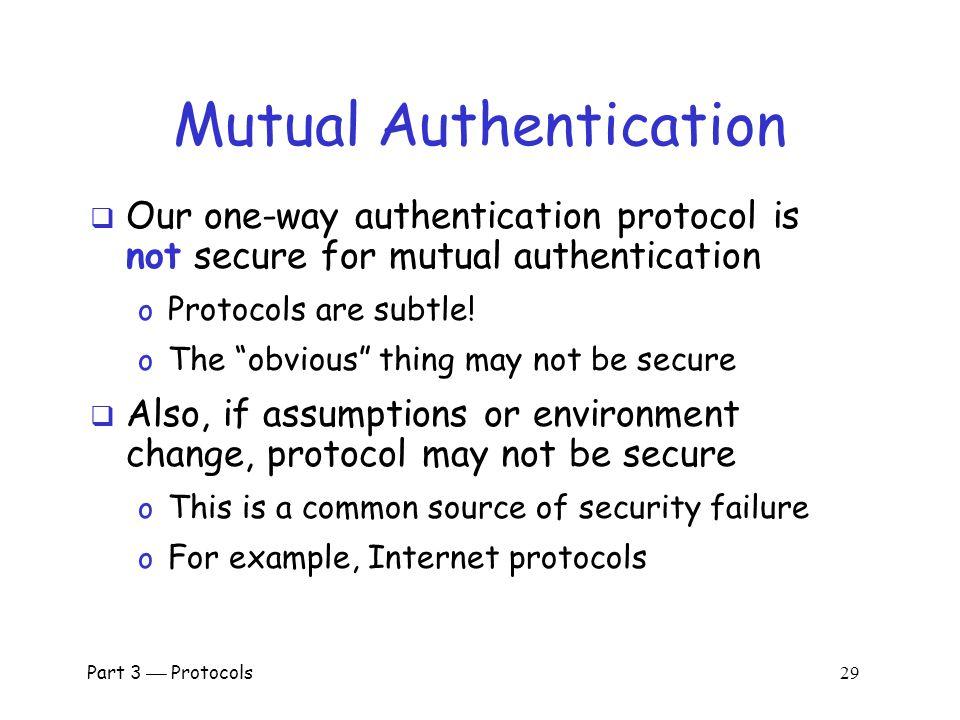 Part 3  Protocols 28 Mutual Authentication Attack Bob, K 1.