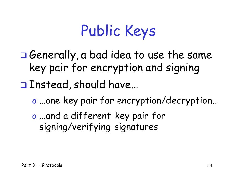 Part 3  Protocols 33 Public Key Authentication Alice Bob I'm Alice R [R] Alice  Is this secure.
