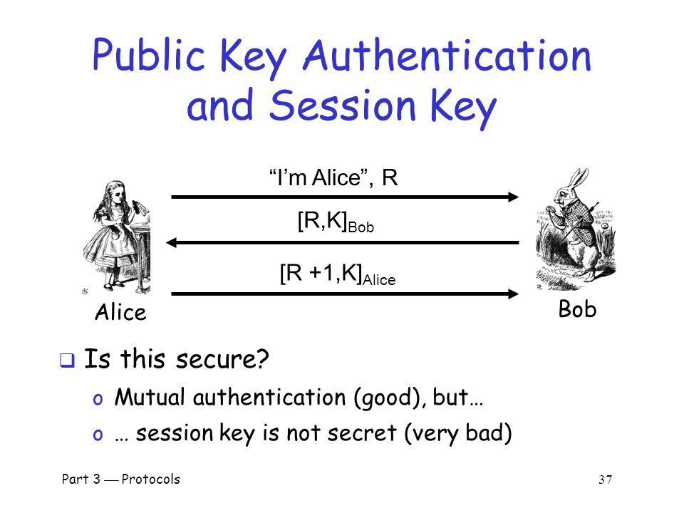 Part 3  Protocols 36 Authentication & Session Key Alice Bob I'm Alice , R {R,K} Alice {R +1,K} Bob  Is this secure.