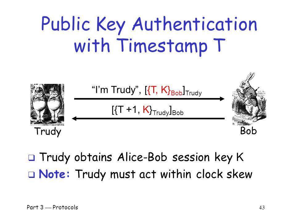 Part 3  Protocols 42 Public Key Authentication with Timestamp T Bob I'm Alice , [{T, K} Bob ] Alice [{T +1, K} Alice ] Bob Alice  Secure authentication and session key.