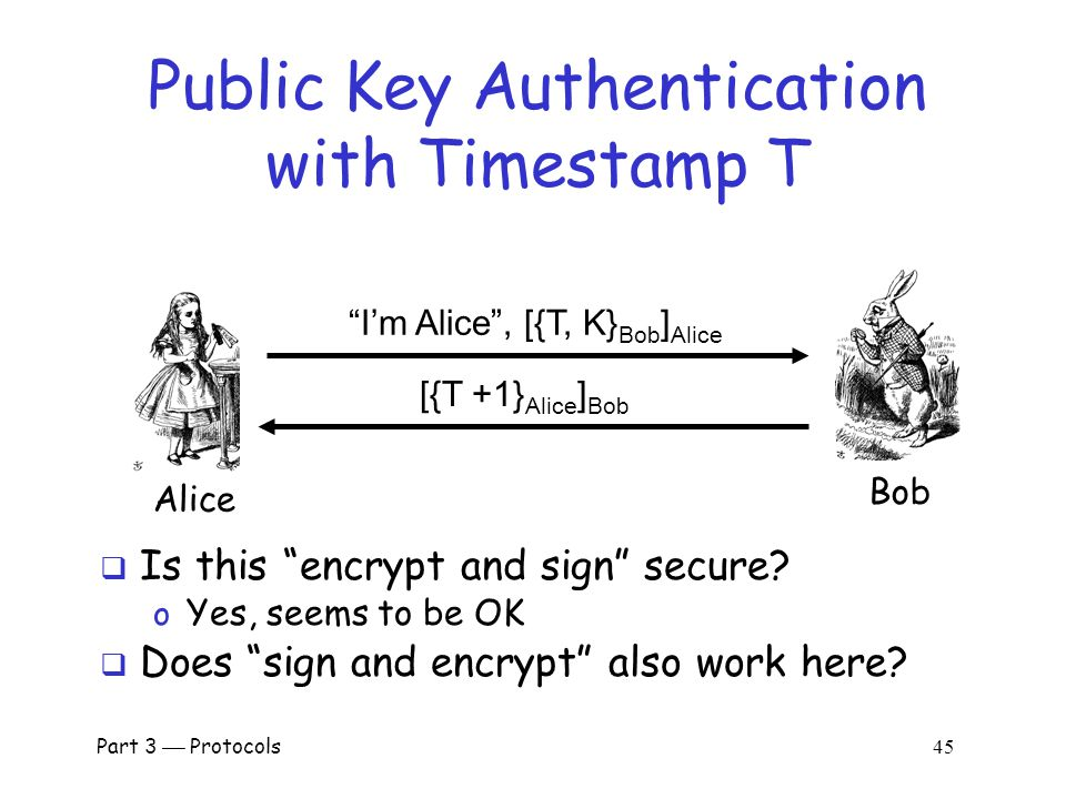 Part 3  Protocols 44 Public Key Authentication  Sign and encrypt with nonce… o Secure  Encrypt and sign with nonce… o Secure  Sign and encrypt with timestamp… o Secure  Encrypt and sign with timestamp… o Insecure  Protocols can be subtle!