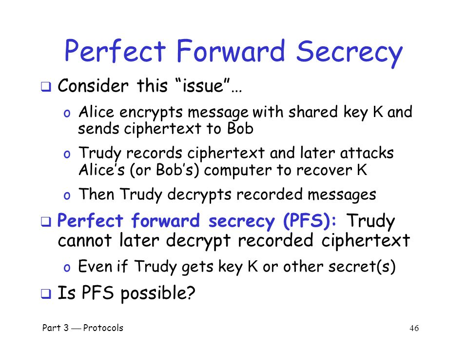 "Part 3  Protocols 45 Public Key Authentication with Timestamp T Bob ""I'm Alice"", [{T, K} Bob ] Alice [{T +1} Alice ] Bob Alice  Is this ""encrypt and"