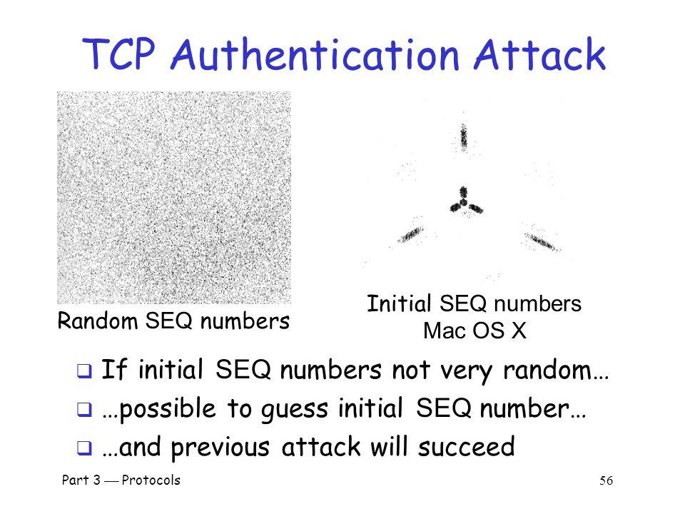 Part 3  Protocols 55 TCP Authentication Attack Alice Bob Trudy 1.