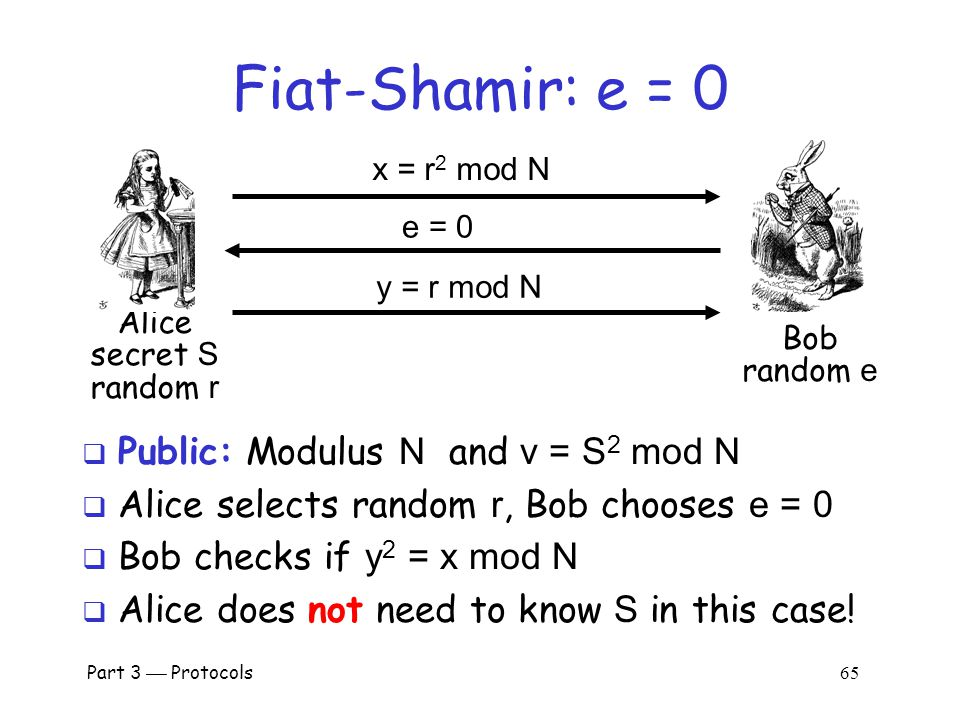 Part 3  Protocols 64 Fiat-Shamir: e = 1  Public: Modulus N and v = S 2 mod N  Alice selects random r, Bob chooses e =1  If y 2 = x  v mod N then Bob accepts it o i.e., Alice passes this iteration of the protocol  Note that Alice must know S in this case Alice secret S random r Bob random e x = r 2 mod N e = 1 y = r  S mod N