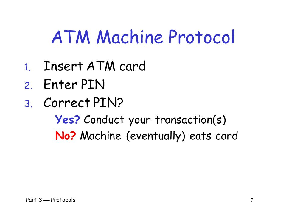 Part 3  Protocols 6 Secure Entry to NSA 1. Insert badge into reader 2.