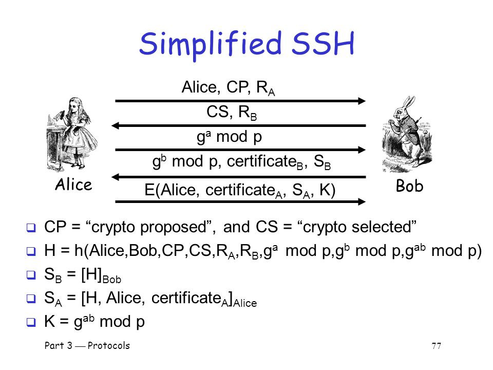 SSH  SSH authentication can be based on: o Public keys, or o Digital certificates, or o Passwords  Here, we consider certificate mode o Other modes,