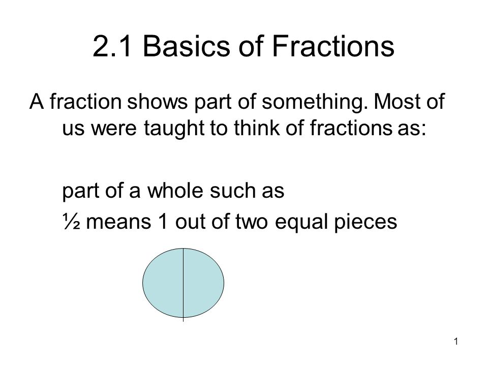 2 2.1 Basics of Fractions Many times we shade pictures of pies and cut-up boxes to illustrate fractions.