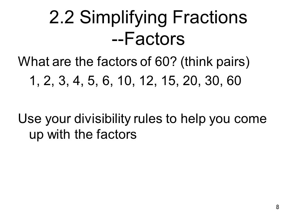 19 Improper to mixed The method for changing from a improper fraction to a mixed number is to divide.